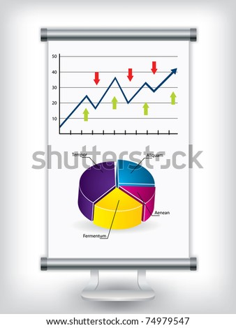 Roll up display stand with charts - stock vector