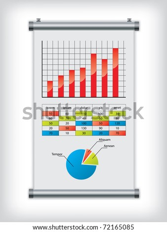 Roll up display with charts and diagrams - stock vector