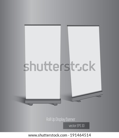 Roll-up display with stand banner template design, vector illustration.  - stock vector