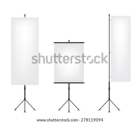 Roll up flag banner and projection screen - stock vector
