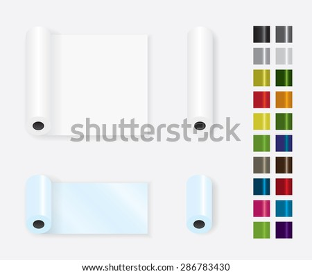 Roll up paper different color - stock vector