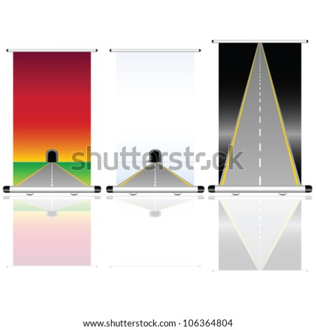 roll up with tunnel and road illustration on white - stock vector