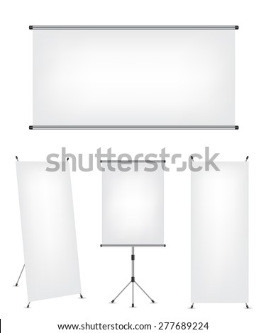 Roll up x-stand banner and projection screen - stock vector