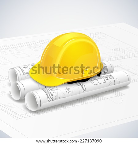 Rolled drafts with a construction helmet. Vector illustration