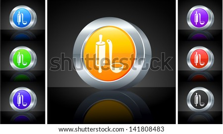 Roller and Scoop Icon on 3D Button with Metallic Rim Original Illustration