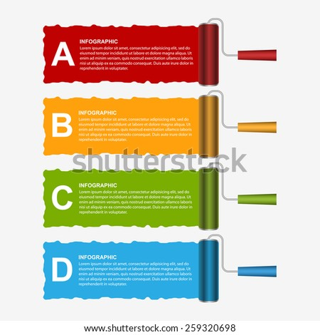 Roller brush infographics options banner. Design template. Vector illustration. - stock vector