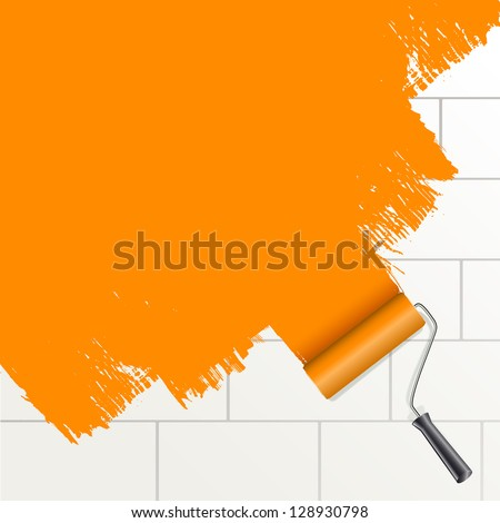 roller brush painting orange on a wall - stock vector