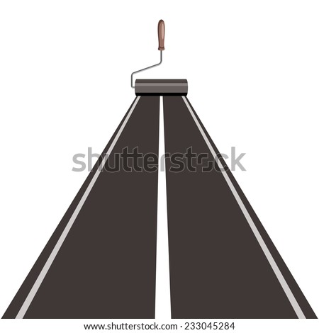 roller brush painting road, isolated on white background - stock vector