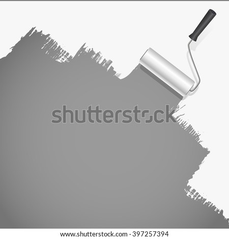 roller brush painting white over grey background. vector illustration - stock vector