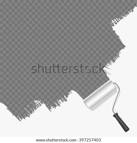 roller brush painting white over transparent background. vector illustration