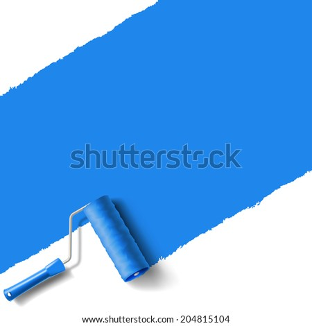 roller brush with blue paint wall - stock vector