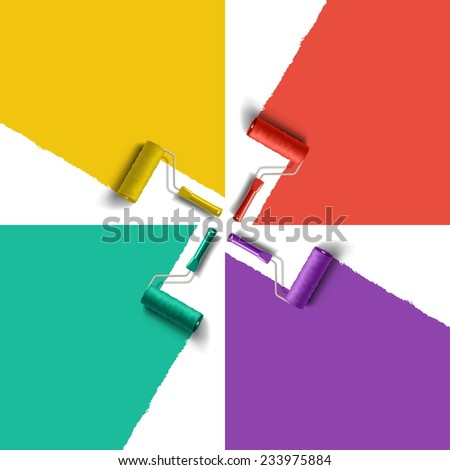 roller brush with different color paint - stock vector