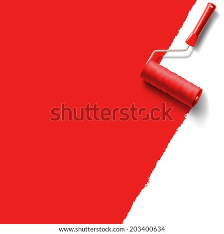roller brush with red paint - stock vector