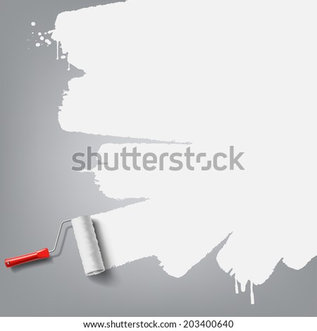 roller brush with white paint - stock vector