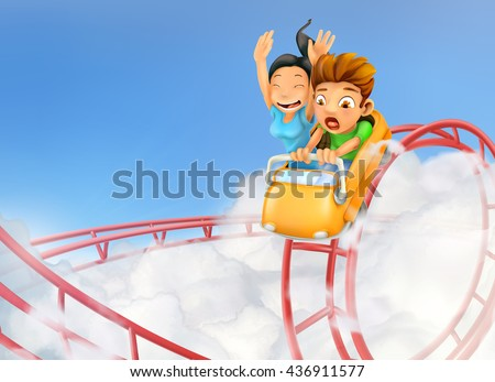 Roller coaster in the clouds, vector background - stock vector