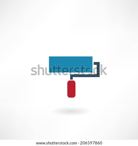 roller paint icon - stock vector