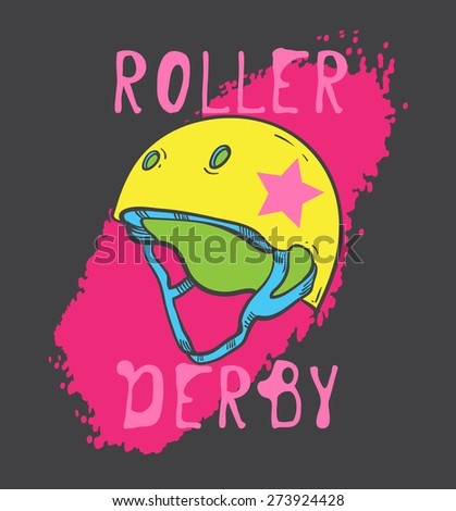 Roller skate and roller derby graphic design for t-shirt - stock vector