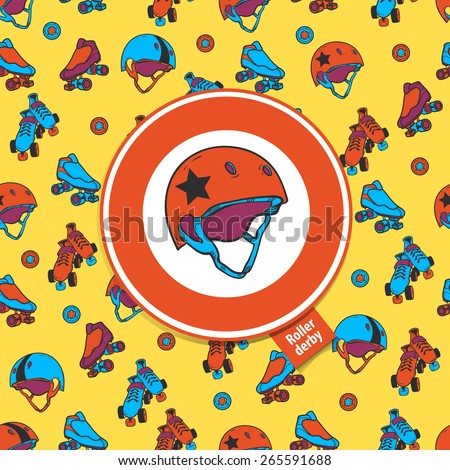 roller skate seamless pattern with roller derby icon - stock vector