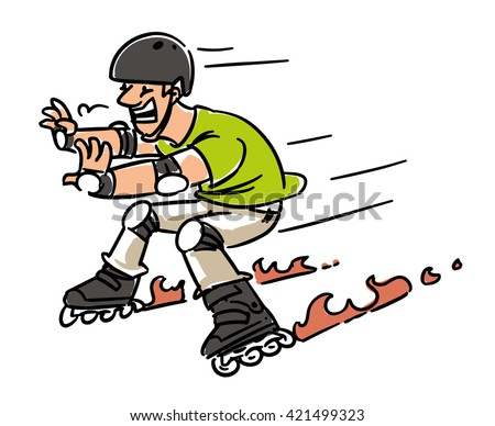 Roller skates accident. Man on Inline Skates. Cartoon sketch illustration