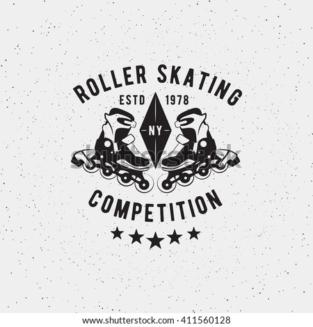 Roller skating badge, seal, elements, symbols logo design. Vector illustration of roller competition, championship. Grunge insignia template for web or print. - stock vector