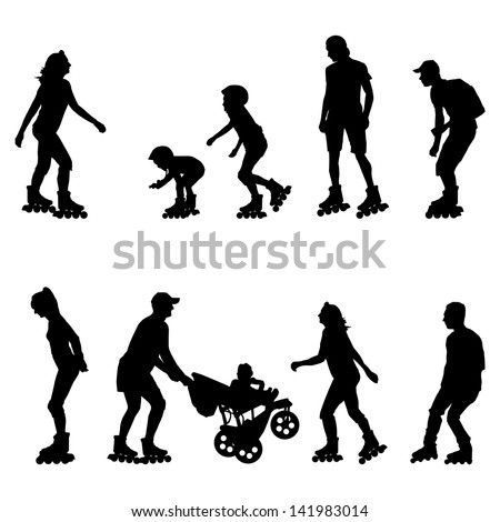Roller skating, in line skaters vector background set with man, woman, teenager and kids - stock vector