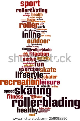 Rollerblading word cloud concept. Vector illustration - stock vector