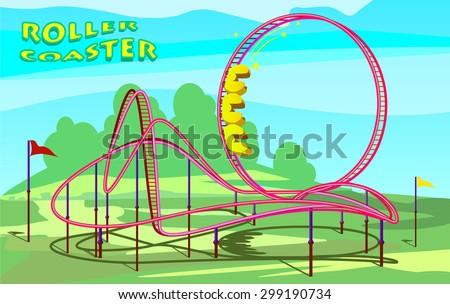 Rollercoaster in amusement park - stock vector