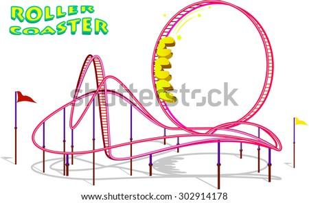 Rollercoaster in amusement park Vector illustration - stock vector