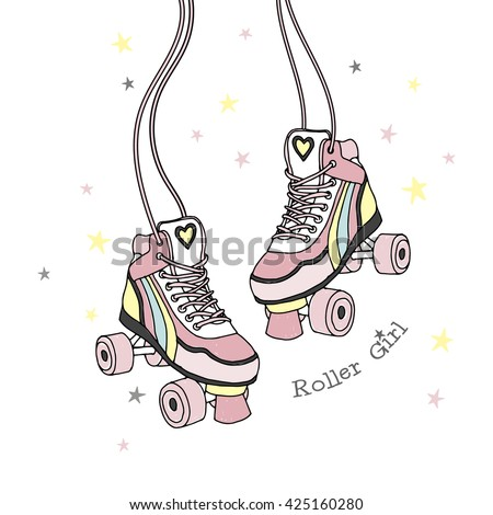 rollers print, roller girl, hand drawn illustration, artwork