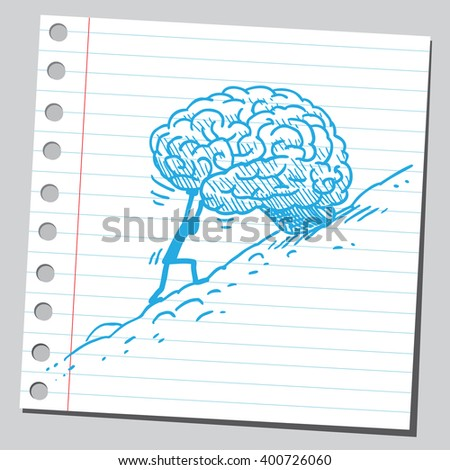 Rolling brain uphill - stock vector