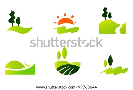 Rolling hills icons isolated on white - stock vector