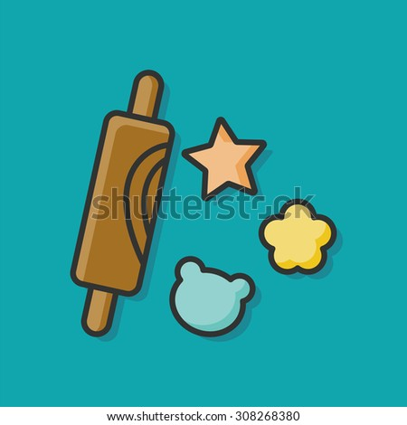 rolling pin doodle - stock vector