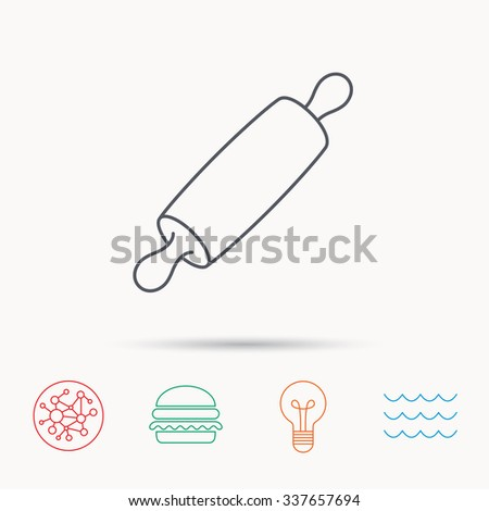 Rolling pin icon. Kitchen baker roller sign. Global connect network, ocean wave and burger icons. Lightbulb lamp symbol. - stock vector