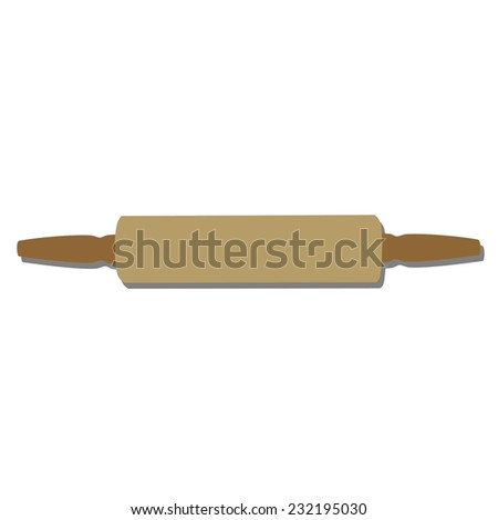 Rolling pin isolated, rolling pin, kitchenware, wooden rolling pin - stock vector
