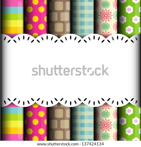 Rolls of colored wrapping paper background - stock vector