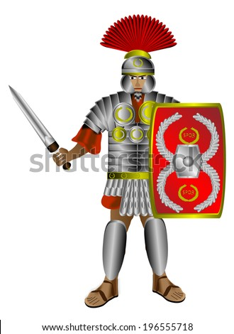 Roman centurion with shield and sword isolated on white background. - stock vector