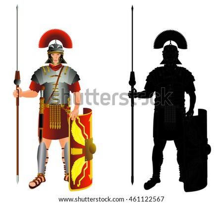 Roman empire legion warrior and silhouette. Legionary infantry. Vector color isolated on white illustration