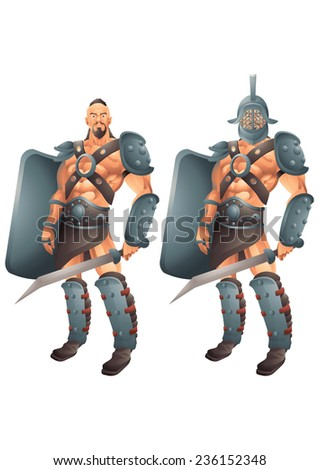 Roman Gladiator cartoon concept 2 isolated - stock vector