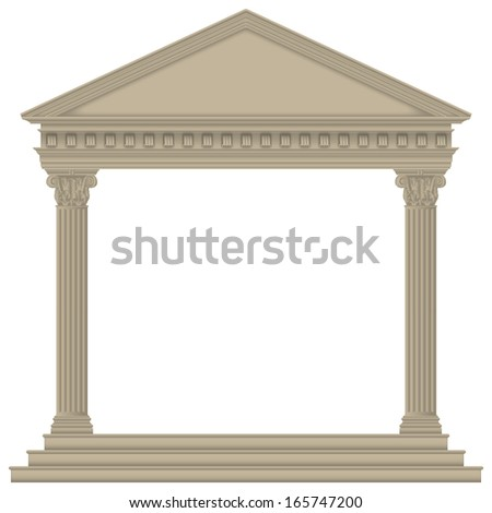 Roman/Greek Temple with Corinthian columns, high detailed - stock vector