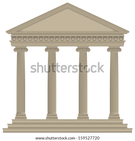 Roman/Greek Temple with ionic columns, high detailed - stock vector