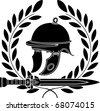 roman helmet. stencil. first variant. vector illustration - stock photo