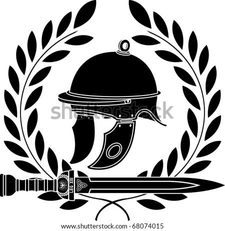 roman helmet. stencil. first variant. vector illustration - stock vector