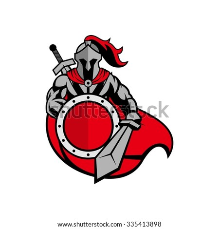 Roman Knight, gladiator with shield and armor, strong and protective, isolate - stock vector