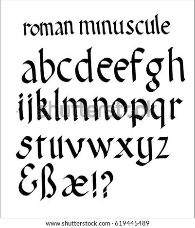 Roman Minuscule Font Stock Vector 619445489