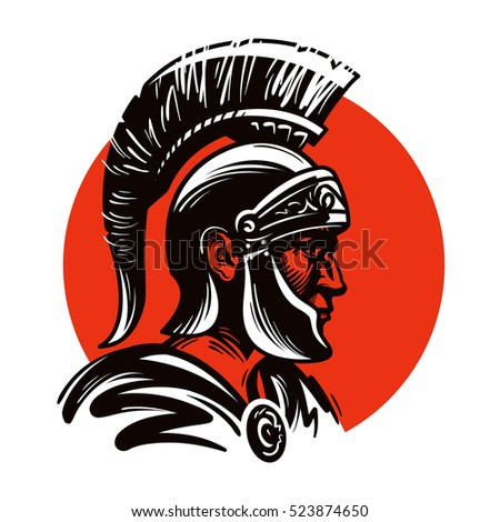 Roman Soldier Gladiator Inside Circle Vector Stock Vector 523874650