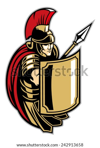 roman soldier with big shield - stock vector
