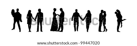 romance and love silhouettes - stock vector