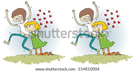 Romance Differences Visual Game. Task: find 10 differences! Solution in hidden layer (vector file only). Illustration is in eps8 vector mode! - stock vector