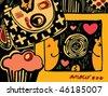 Romance (retro styled vector) - stock vector