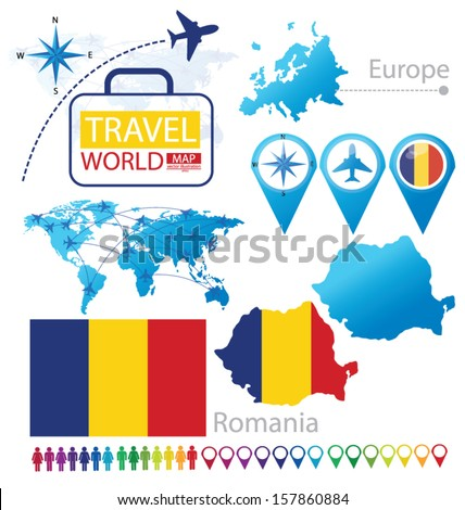 Romania. flag. World Map. Travel vector Illustration. - stock vector